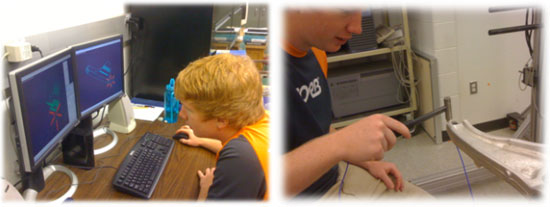 Student modeling automotive suspension control arm with bushings using ADAMS (left); student modal testing automotive suspension control arm with bushings in a simplified lab experiment (right)
